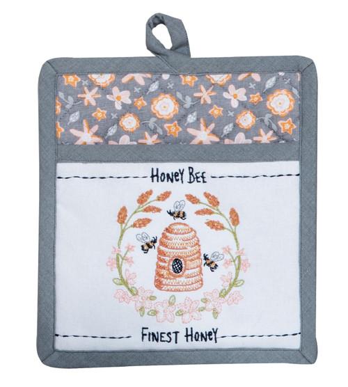 Bee Inspired Honey Bee Finest Honey Embroidered Kitchen Pocket Mitt