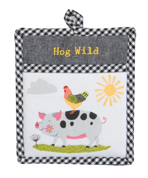 Farm Charm Hog Wild Pig with Rooster Embroidered Kitchen Pocket Mitt
