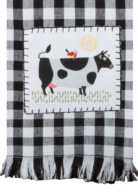 Farm Charm Cow Black and White Plaid Appliqued Kitchen Tea Towel