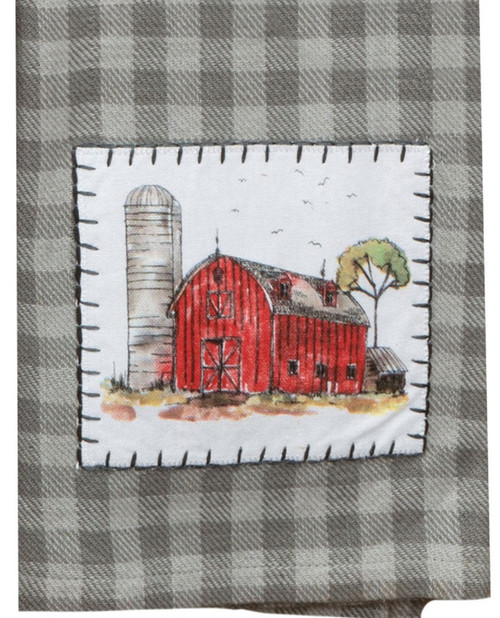 Country Life Red Barn Gray Plaid Appliqued Kitchen Tea Towel