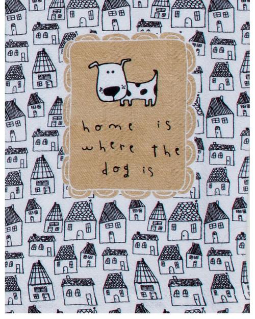 Petitudes Home is Where the Dog Is Herringbone Kitchen Tea Towel