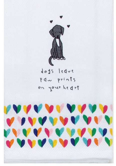 Petitudes Dogs Leave Pawprints on Your Heart Herringbone Kitchen Tea Towel