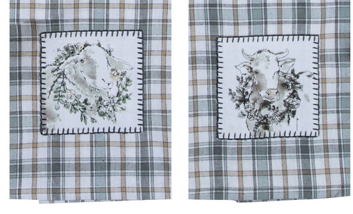Modern Farm Cow and Sheep Plaid Appliqued Kitchen Tea Towels Set of 2
