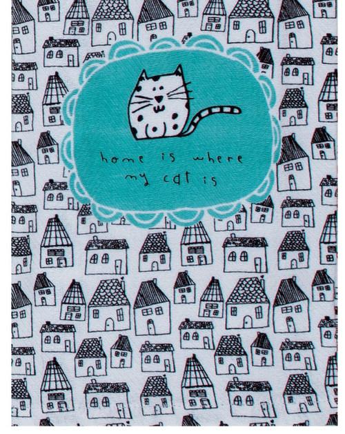 Petitudes Home is Where My Cat Is Herringbone Kitchen Tea Towel