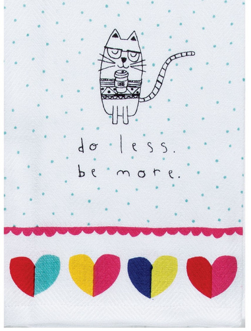 Petitudes Cat Do Less Be More Herringbone Kitchen Tea Towel