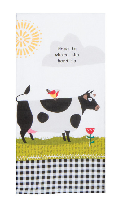 Farm Charm Cow Home is Where Herd Is Dual Purpose Terry Kitchen Dish Towel