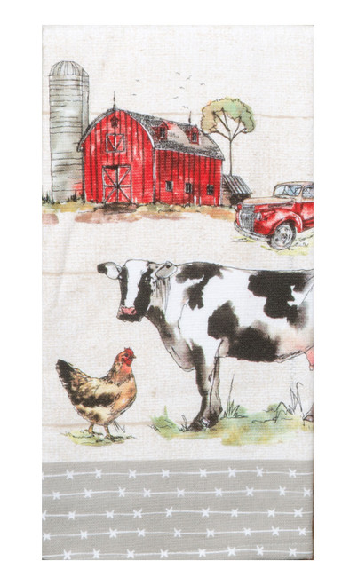 Country Life Barn Scene Cow Chicken Dual Purpose Terry Kitchen Dish Towel Cotton