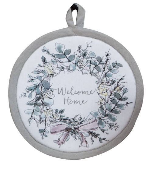 Modern Farmhouse Welcome Home Wreath Round Kitchen Pot Holder