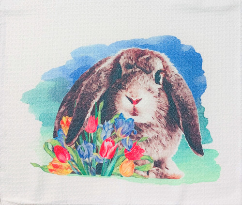 Baby Bunny in Spring Tulips Microfiber Waffle Weave Kitchen Dish Towel