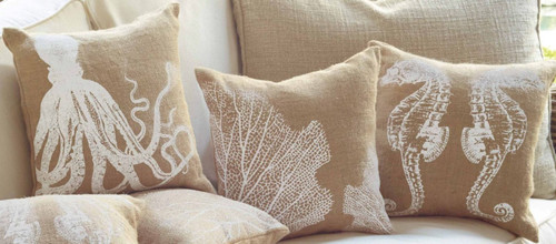 Mud Pie Seahorse Octopus and Coral Print Burlap Accent Throw Pillows Set of 3