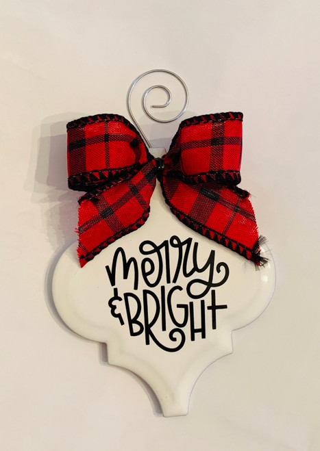 Merry and Bright Buffalo Plaid Christmas Holiday Ornament Porcelain