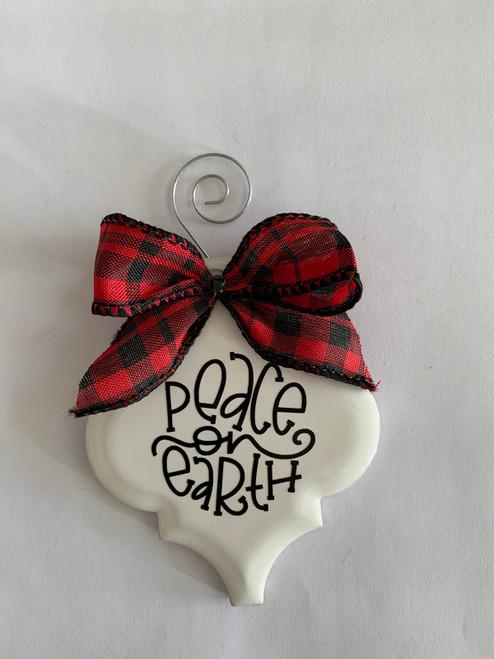 Peace on Earth Buffalo Plaid Christmas Holiday Ornament Porcelain