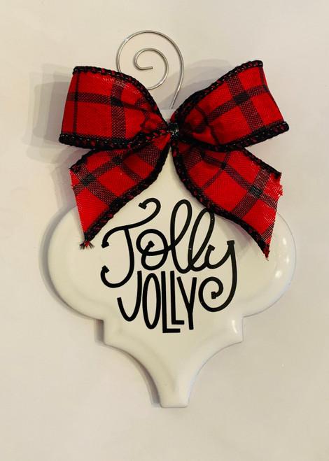 Jolly Jolly Buffalo Plaid Christmas Holiday Ornament Porcelain