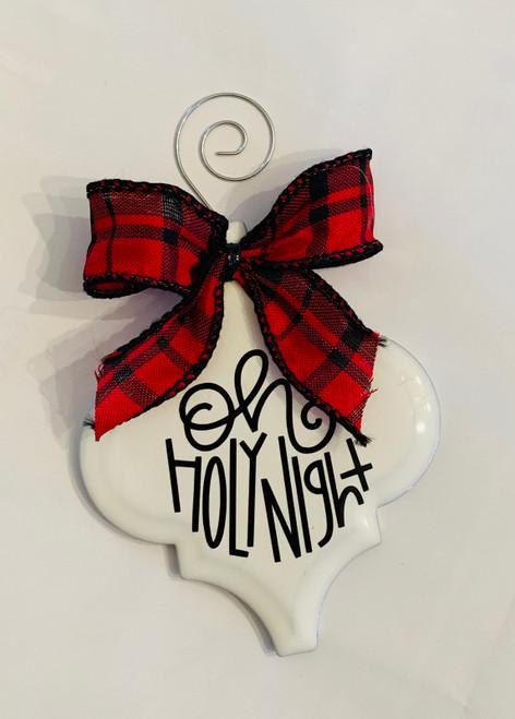 Oh Holy Night Buffalo Plaid Christmas Holiday Ornament Porcelain