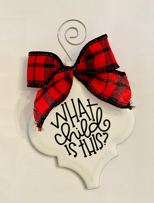 What Child is This Buffalo Plaid Christmas Holiday Ornament Porcelain