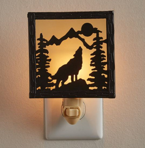 Howling Wolf Distressed Galvanized Metal Electric Night Light