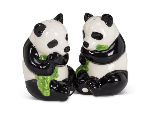 Panda Bears Eating Bamboo Salt and Pepper Shakers