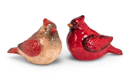 Cardinal Birds Male and Female Salt and Pepper Shaker Set Ceramic