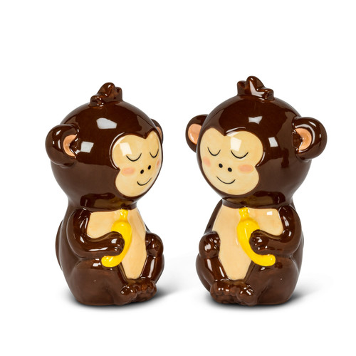 Cute Monkeys with Bananas Salt and Pepper Shakers Ceramic