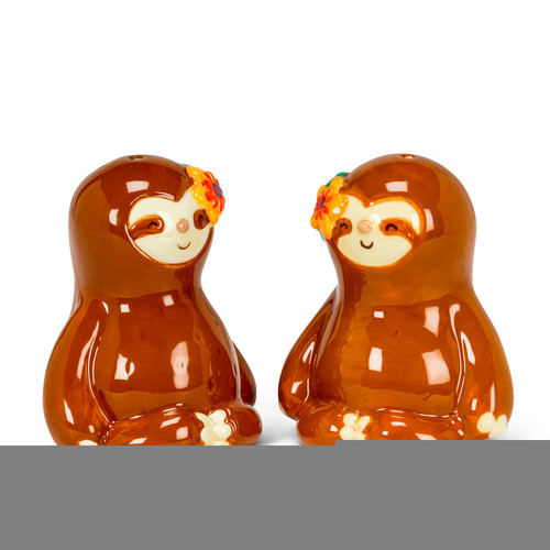 Sloths Sitting with Legs Crossed Salt and Pepper Shakers