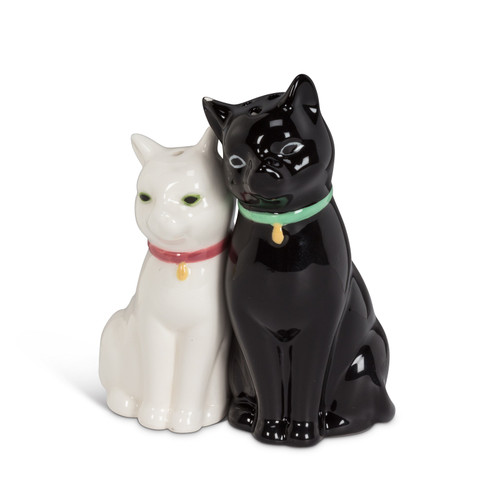 Cuddling Black and White Kitty Cats Salt and Pepper Shakeres