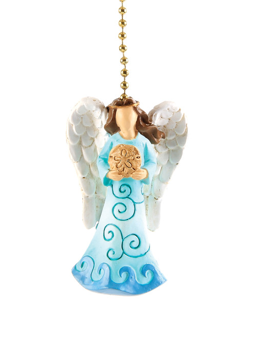 Teal Seasisde Angel Ceiling Fan Light Dimensional Pull Resin