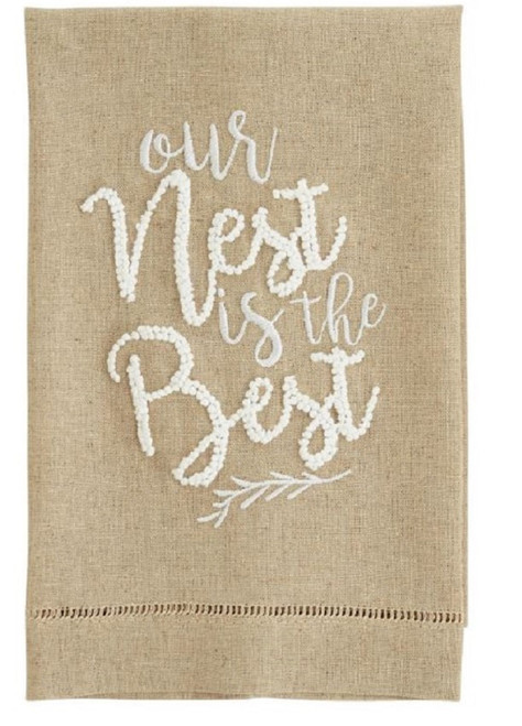 Mud Pie Our Nest is Best French Knot Guest Hand Towel