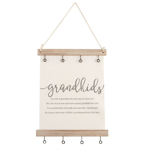 Mud Pie Grandkids Photo Hanger Canvas and Wood 18 Inches