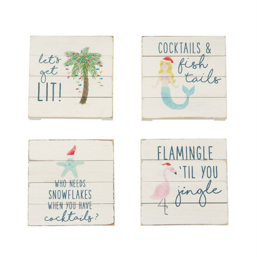 Mud Pie Palm Flamingo Mermaid Starfish Holiday Coasters Planked Wood Set of 4