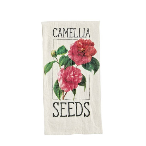 Mud Pie Camellia Seed Packet Flour Sack Kitchen Dish Towel