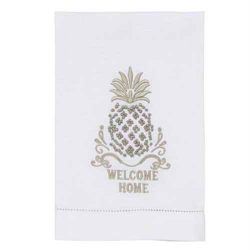 Mud Pie Welcome Home Pineapple French Knot Linen Guest Towel