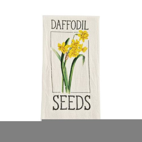 Mud Pie Daffodil Seed Packet Flour Sack Kitchen Dish Towel