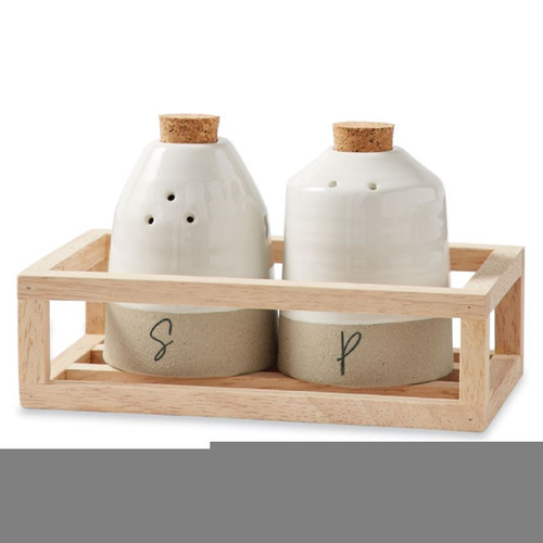 Mud Pie Farmhouse Inspired Salt and Pepper Shakers in Wood Tray