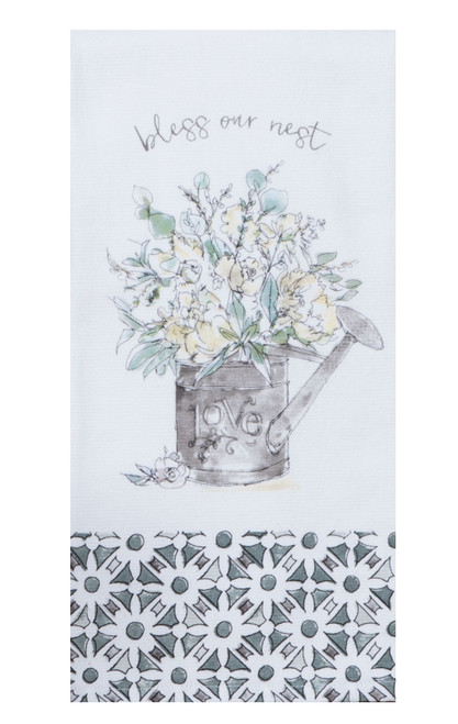Farmhouse Watering Can Bless Our Nest Dual Purpose Terry Kitchen Dish Towel