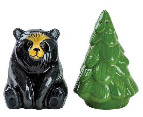 Black Bear and Evergreen Tree Salt and Pepper Shaker Set Earthenware