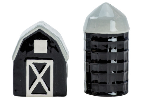Black and White Farmhouse Barn and Silo Salt and Pepper Shaker Set