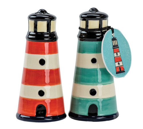 Lighthouses with Red and Teal Stripes Salt and Pepper Shaker Set