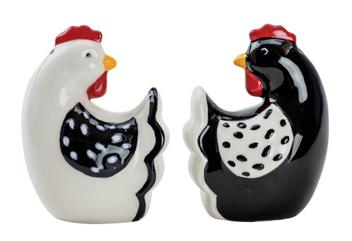 Farmhouse Roosters Salt and Pepper Shaker Set Black and White Earthenware