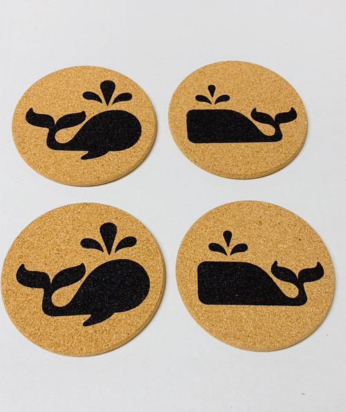Whimsical Whales Cork Drink Coasters Set of 4