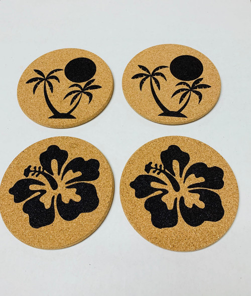 Palm Trees Sunset and Hibiscus Flowers Cork Drink Coasters Set of 4