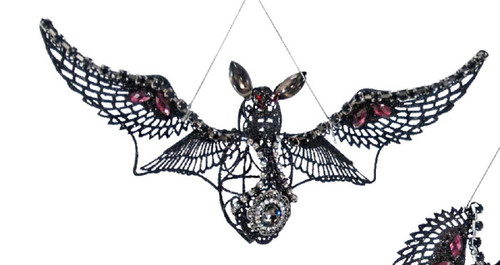 Jeweled Wire Bedazzled Flying Bat Halloween Ornament