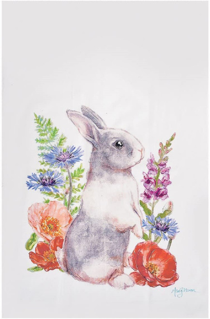 Bunny Rabbit in Flowers Printed Kitchen Dish Towel