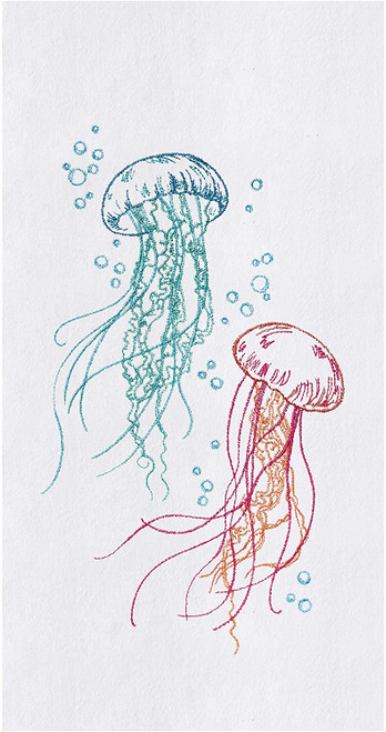 Jellyfish Bubbles Embroidered Flour Sack Kitchen Dish Towel