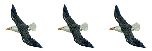 Seagull Gull Shore Bird Bath Nursery Beach Wall Decor 8 Inches Navy and White Set of 3