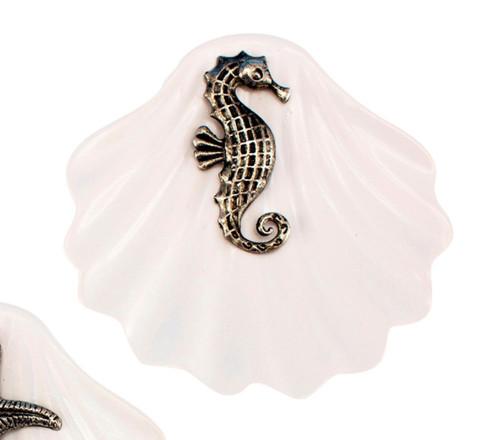 Seahorse on White Ceramic Clam Shell Ring Holder Trinket Dish