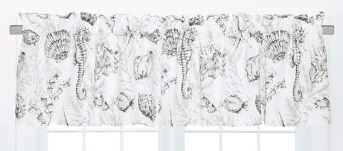 Seahorse Shells and Coral Fenwick Isle Window Valance Cotton 72 X 15.5 Inches