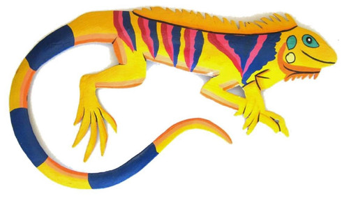 Bright Yellow Hand Crafted Tropical Iguana Decor Haitian Metal Wall Art