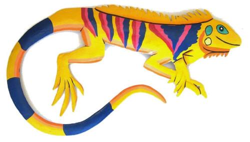 Bright Yellow Hand Crafted Tropical Iguana Decor Haitian Metal Wall Art