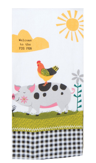 Farm Charm Pig Welcome to Pig Pen Dual Purpose Terry Kitchen Dish Towel Cotton