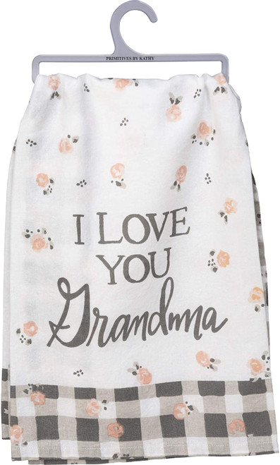 I Love You Grandma Pink Roses Plaid Trim Printed Kitchen Dish Towel